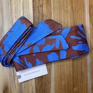Anthro • Blue Brown Fabric Belt